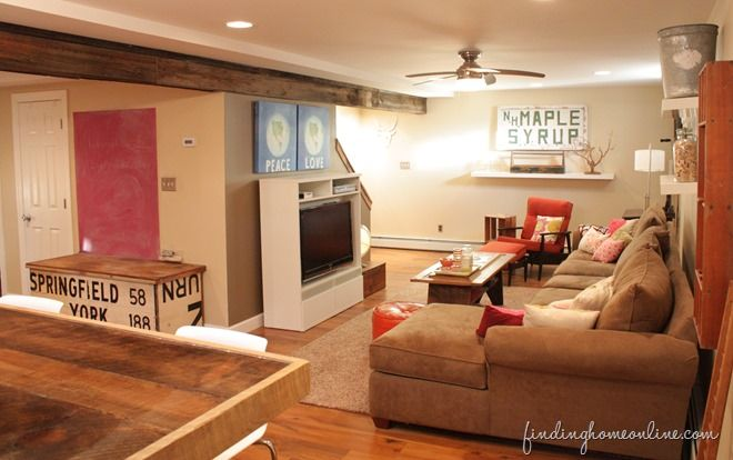 Decorating ideas: Basement Family room - Finding Home This is a great basement redo that offers zones for hanging out/tv, adult bar and kids/craft area. Really like it and the beams