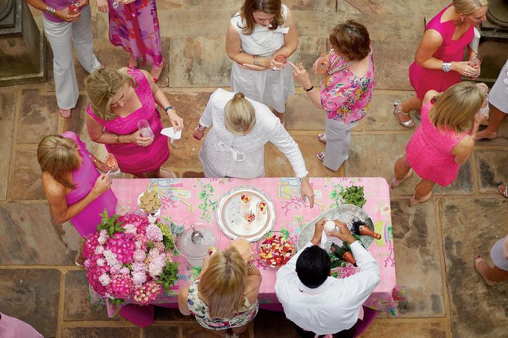 "Host a Pretty Party - A Ladylike Tea - Southernliving. ""For a tea, everything should be polished, pretty, and super feminine,"" says Danielle. ""It's okay to have things feel slightly old-fashioned, just don't use pieces in the traditional sense."" ""I save leftover fabric from house projects or buy things from discount fabric stores,"" Danielle explains. ""This party started with a pink floral fabric I loved. I didn't have a lot of it, so I just used it as a topper for the bar."""