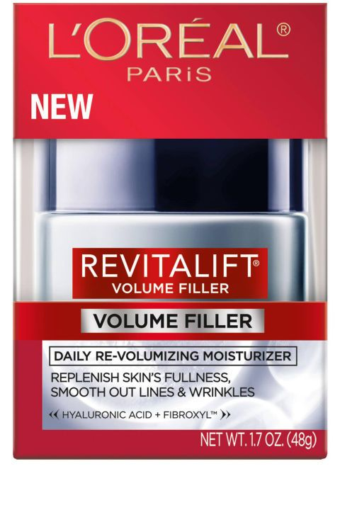 High doses of hyaluronic acid work to plump up sagging cheekbones for what's the closest you'll get to restoring facial volume without seeking out your dermatologist. L'Oréal Paris Revitalift Volume Filler Daily Re-Volumizing Moisturizer, $20, target.com.