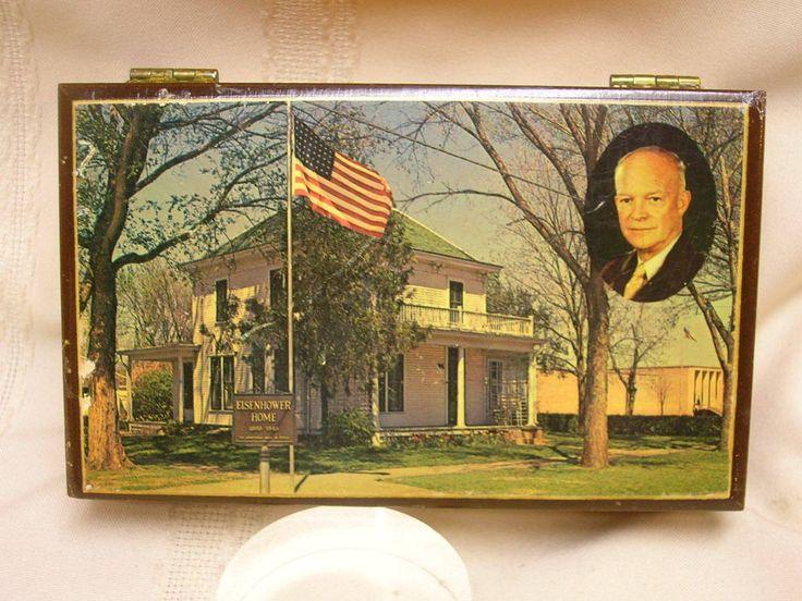 "Vintage Trinket Box Abilene Kansas Eisenhower Home 5 3/4"" X 3 1/2"""