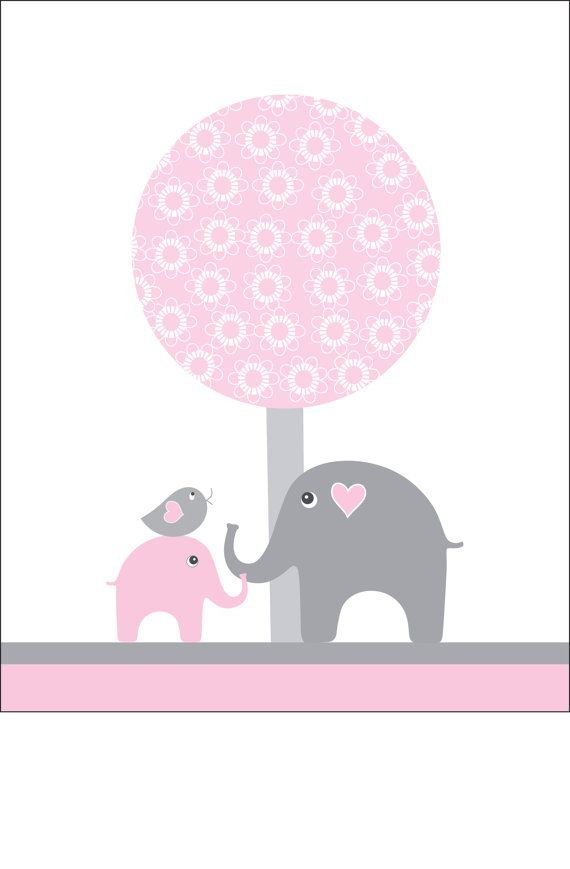 Pink and gray nursery wall art elephant kids wall by walstonprints, $12.00