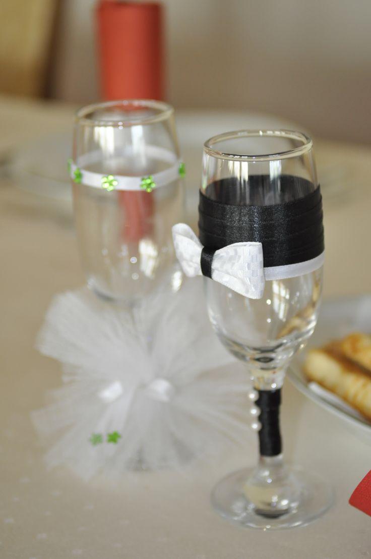 groom & bride champagne glasses by Decor cu flori