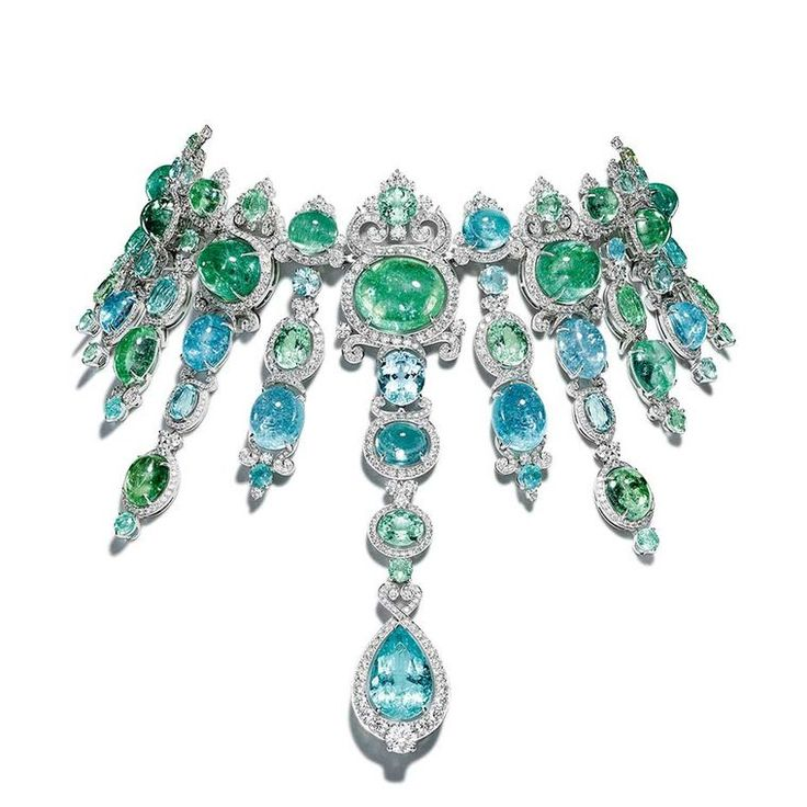 The show-stopping Giampiero Bodino Barocco choker, set with cascades of blue and green African Paraiba tourmalines totalling 326.21cts in white gold with diamonds