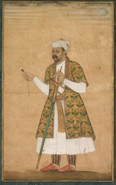 A Courtier, Possibly Khan Alam, Holding a Spinel and a Deccan Sword, c. 1605-1610 attributed to Govardhan (Indian) opaque watercolor and gold on paper, text on verso, 2013.323
