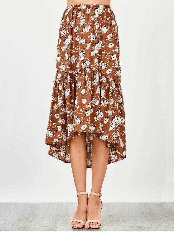Ruffles Asymmetrical Beach Midi Skirt - FLORAL L Mobile