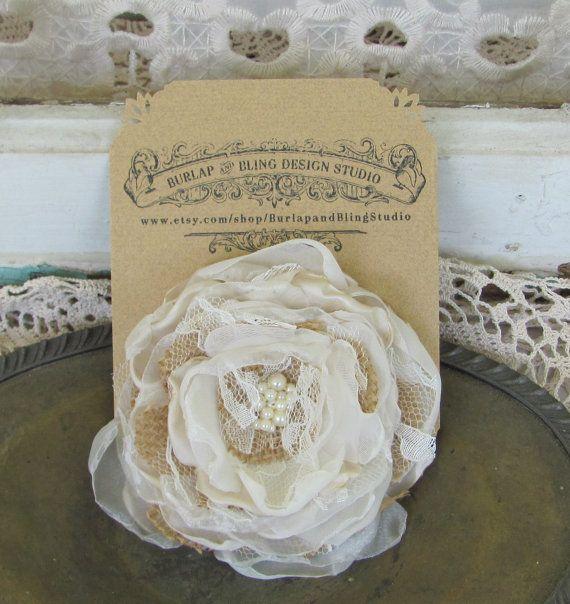 Wedding Pin Corsage Burlap and Champagne by BurlapandBlingStudio, $15.00