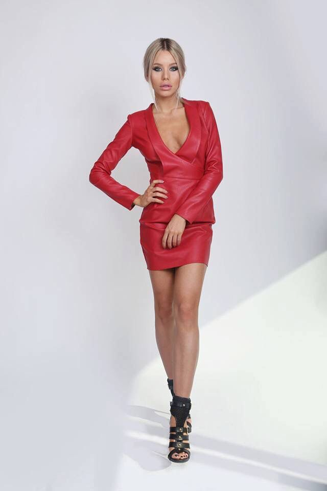Red Leather Dress!  Check it on www.noire.ro!✔️