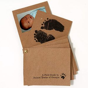 Very cute idea for announcement with hand and foot prints. -- Stamp It