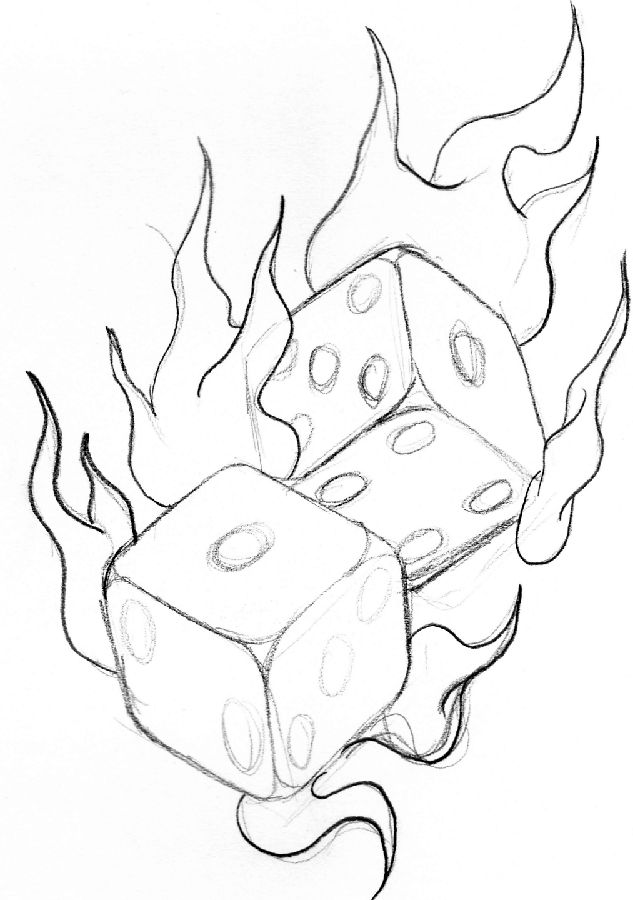 Flaming lucky dice by soul-courageous