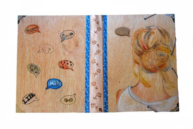 archivador #carpeta #madera #folder #school #scrapbook #handmade #wooden # capricho #art #clipboardart #beauthy #prettythings #cosas bonitas #vintage #DIY