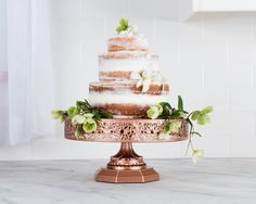 Rose Gold / Copper tone Cake Stand   12 Inch Round Cake by PlatinumHomeDesigns