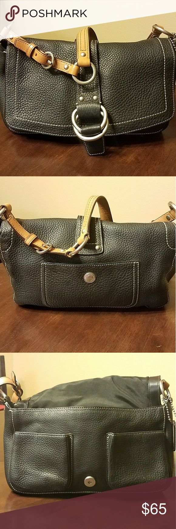 Coach Leather handbag Black/brown leather handbag in mint condition. Coach Bags Shoulder Bags