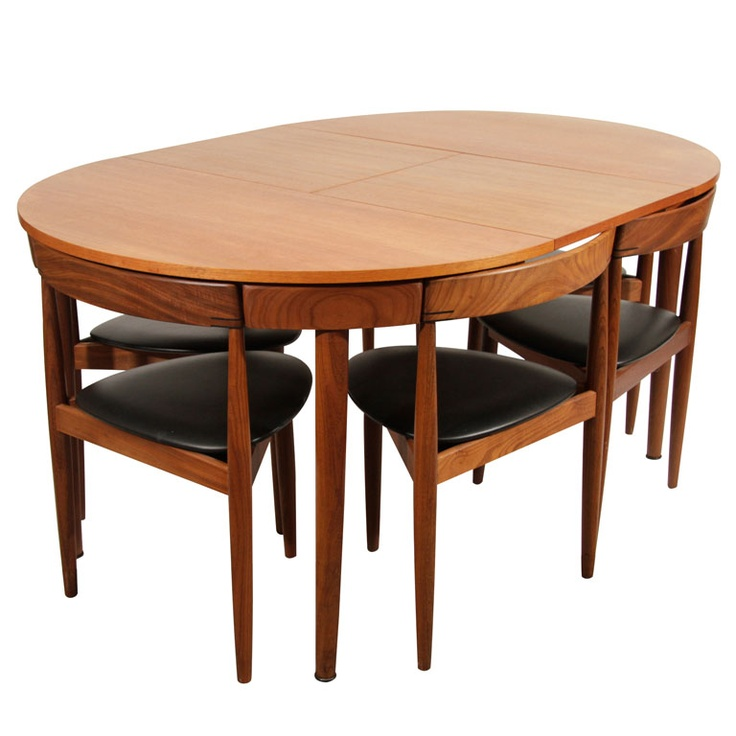 Hans olsen expandable dining table with extension and six for Small dinner table and chairs