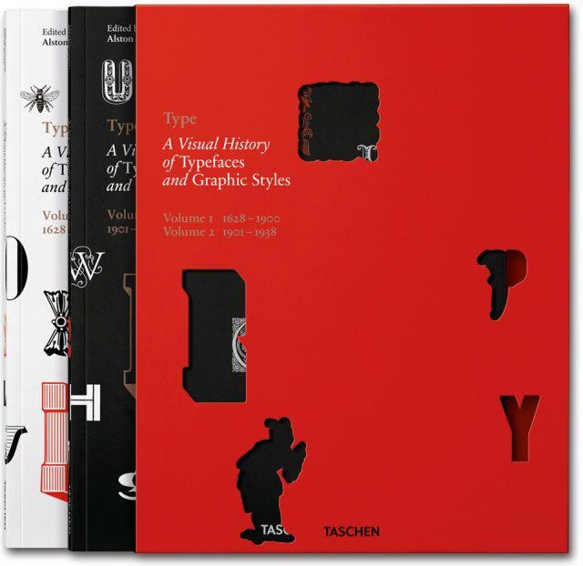 Must-have boek over lettertypes en grafische stijlen English (geen Franse versies, aub) 'TYPE. A VISUAL HISTORY OF TYPEFACES & GRAPHIC STYLES' Cees W. de Jong, Alston W. Purvis, Jan Tholenaar Softcover, 2 vols. with keycard in slipcase, 24 x 30,5 cm, 720 pages Uitgeverij Taschen.