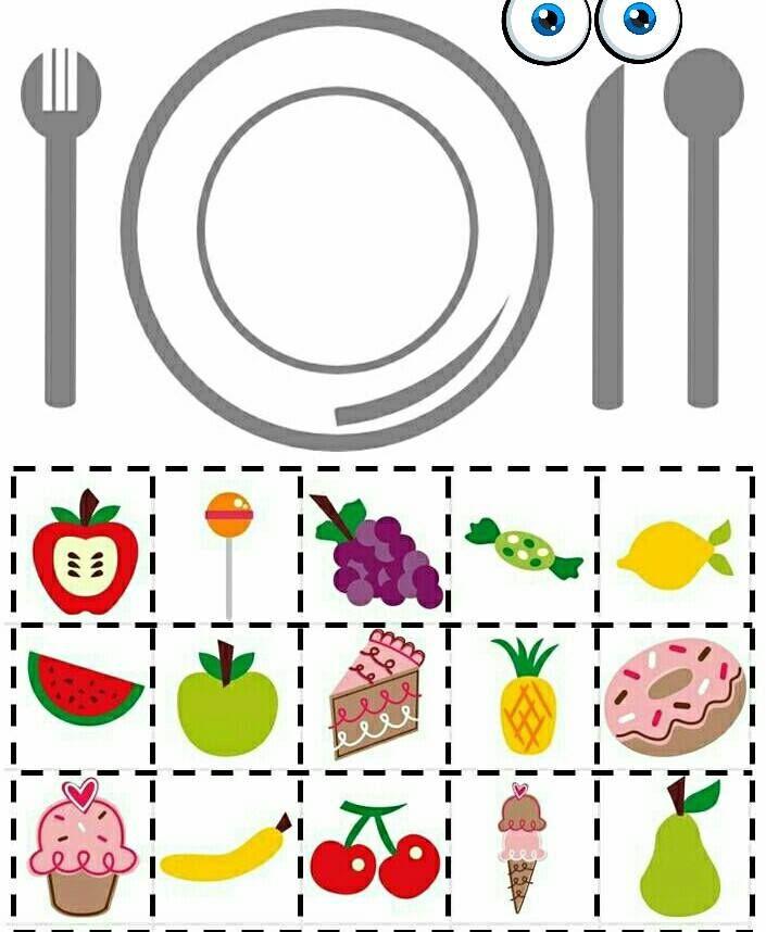 leg op je bord wat gezond is...leg op je bord iets wat groen (of andere kleur) is...leg op je bord wat je lekker vind...