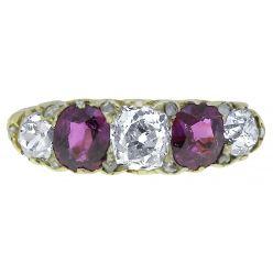 47159V Victorian Ruby & Diamond Half Hoop Ring