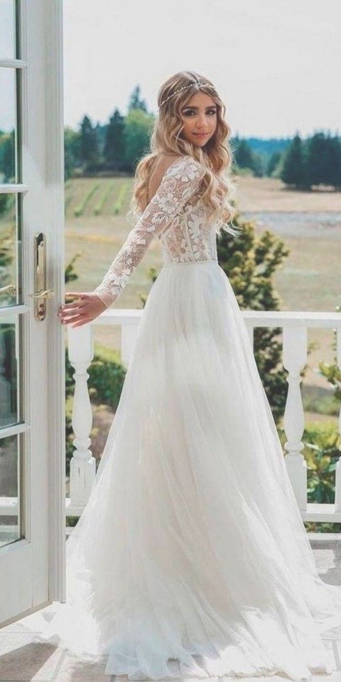 Country Wedding Dress With Long Lace Sleeves Long Sleeve Wedding Dress Boho Lace Wedding Dress With Sleeves Wedding Dresses Lace [ 1395 x 698 Pixel ]
