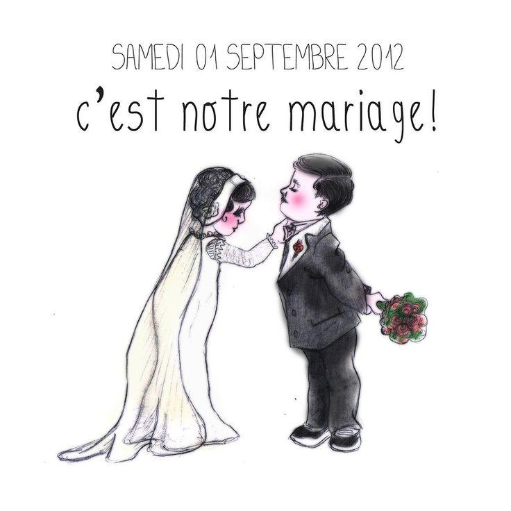 """Faire-part MARIAGE """"Mariés"""" pour Emilie et Jules Un dessin handmade à votre demande... avec tendresse et fantaisie!"""