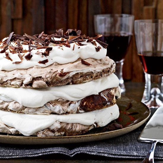 Hazelnut-and-Chocolate Meringue Cake | This extraordinary dessert, made with crisp chocolate-hazelnut meringue and whipped cream, is simple to make.
