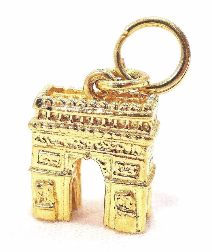 14k Solid Gold Charm Champs De Elysee Monument Paris France Travel Free Shipping