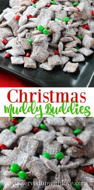 Christmas Muddy Buddies recipe from Served Up With Love. The perfect sweet treat to celebrate the season. www.servedupwithlove.com