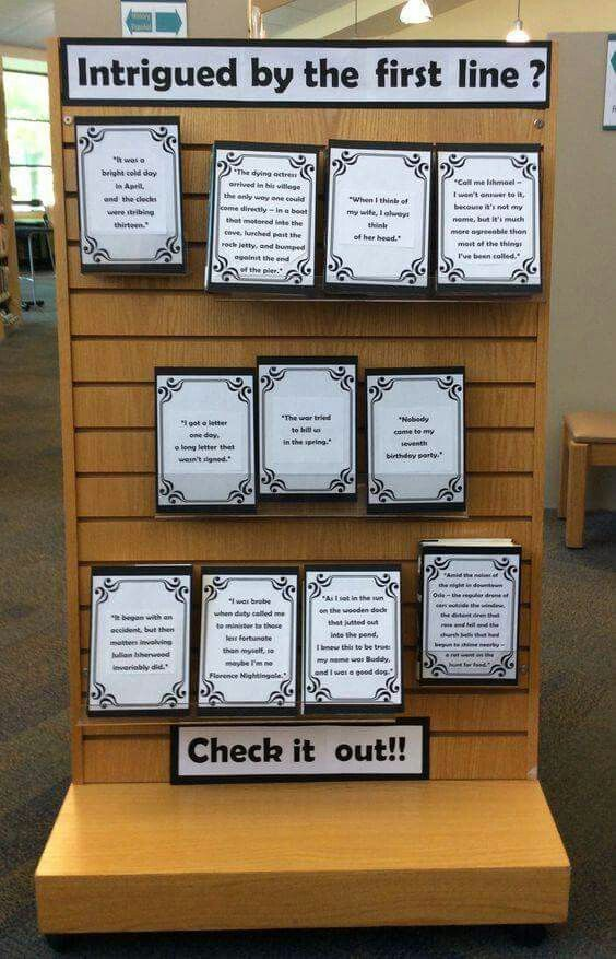 Library Display, Intrigued by the first line? #MedinaLibrary #Displays #Library