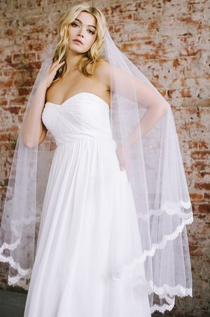 Vintaged inspired French lace bridal veil