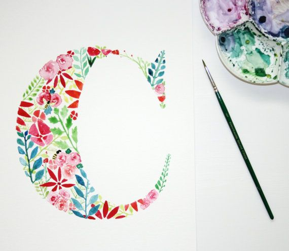 Watercolour letter C, Floral Nursery Wall Art, Personalised Kids Decor, Letter Art Print, Watercolour Flowers, Initial Artwork