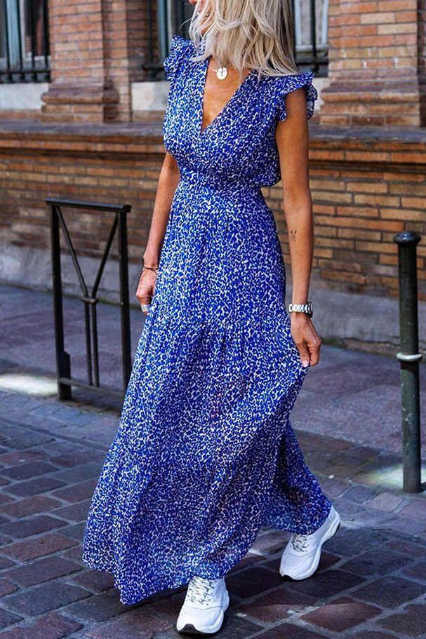 Fashion blue ruffled plus size tunic dress long maxi dress