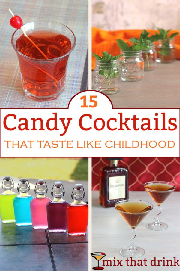Sometimes you just want a cocktail that combines alcohol with nostalgic childhood treats. This collection of candy drinks - and also drinks that mimic popular soft drinks - should help you scratch that itch.