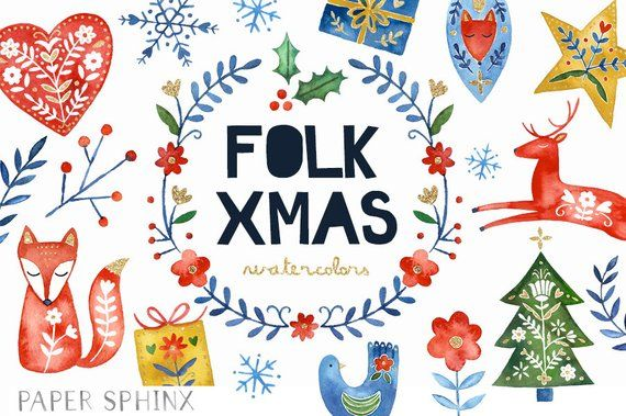 Watercolor Folk Christmas Clipart Holiday Clipart Scandinavian