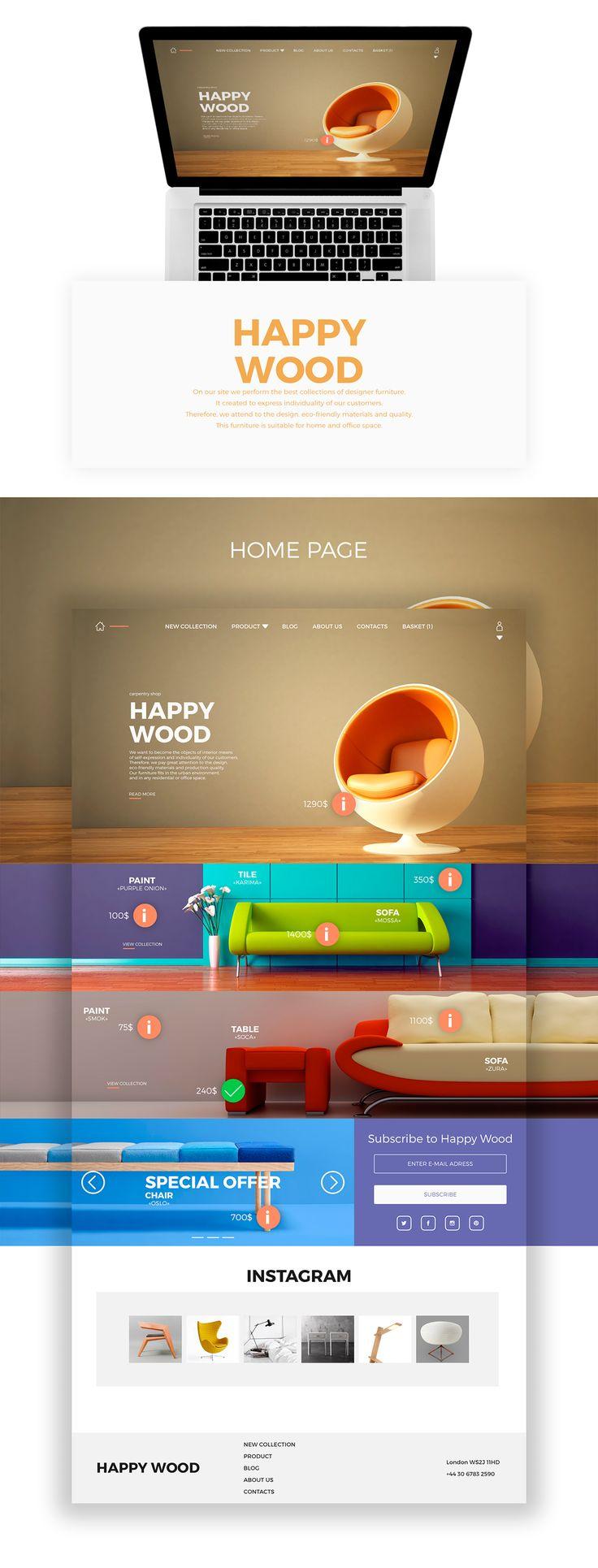 Online store interior goods «HAPPY WOOD» on Web Design Served