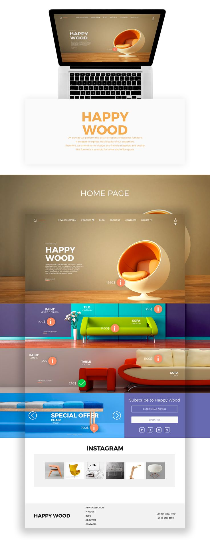 Online store interior goods «HAPPY WOOD» on Web Design Served