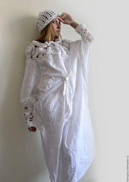 """Платья ручной работы. Платье-рубашка из хлопка """"Богемия"""". Boho love. Ярмарка Мастеров. Белоснежный, бохо, хлопок"""