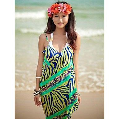 Buy New Zealand swim wear online,cheap  Women's Fashion Green Zebra Chiffon Deep-v Swimwear Nz Swimsuit Nz Beach dress Bikini Cover-up - Swim.