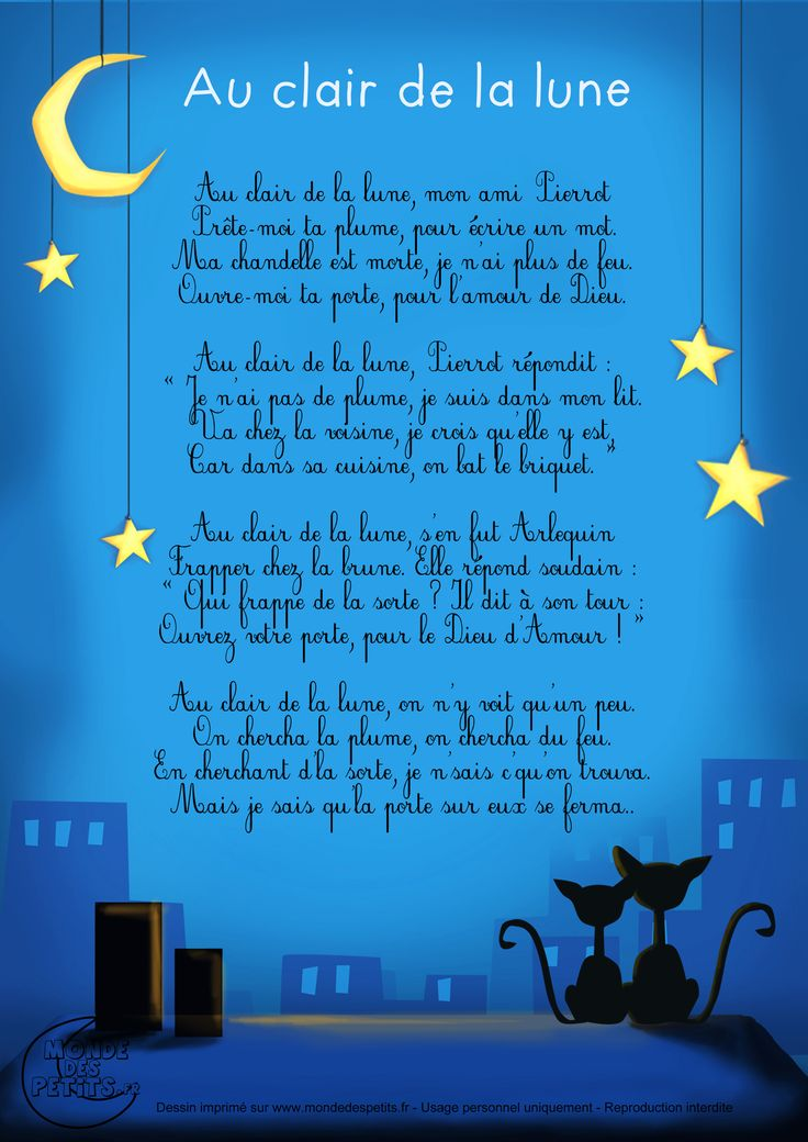 Paroles_Au clair de la lune