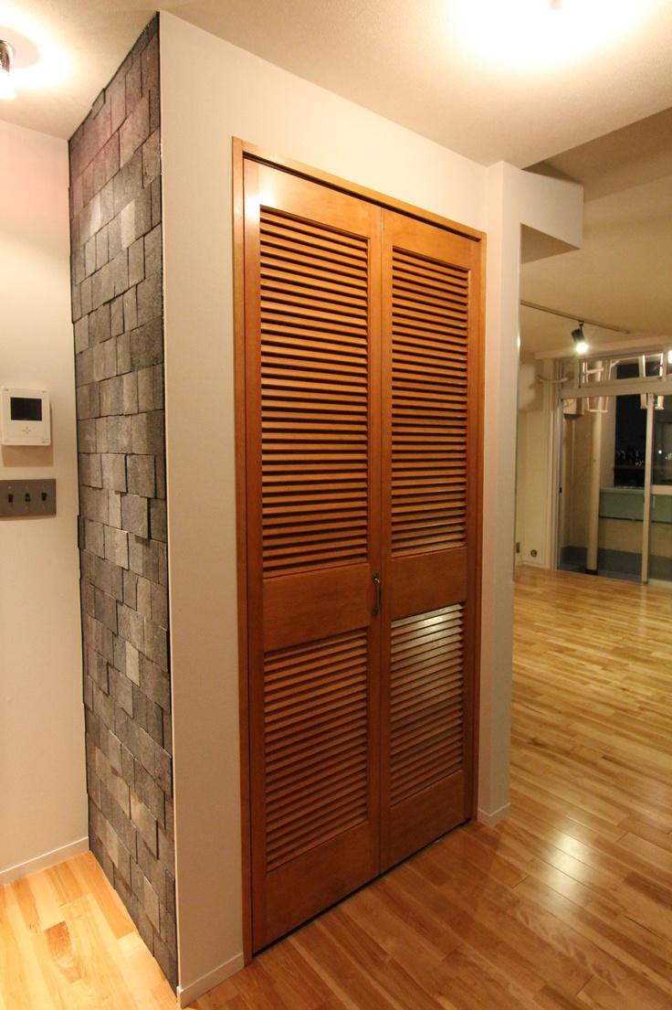 Door ドア 扉 建具 ルーバー折れ戸 フィールドガレージ Door Pinterest