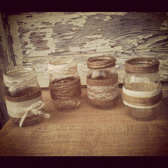 8 Burlap and Lace Mason Jar Set Wedding Bridal Shower Country Home Decor Twine Mason Jars Burlap Mason Jars Lace Mason Jars. $49.00, via Etsy.