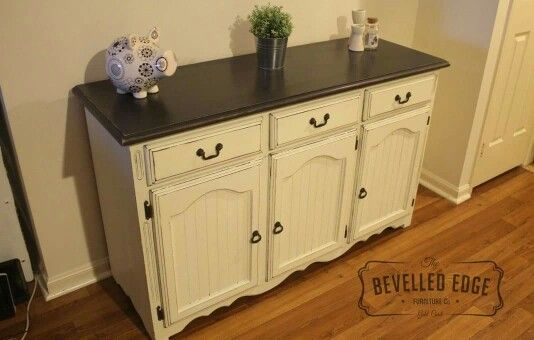 Farmhouse sideboard, custom french vanilla and graphite chalk paint and waxed.