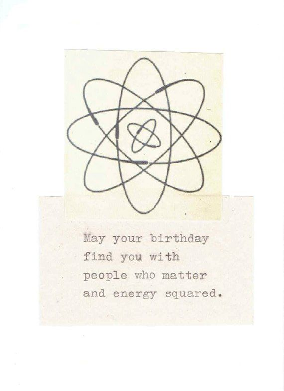 Energy Squared Funny Physics Birthday Card Vintage Science Humor Physics Pun Atomic Geek Nerdy Typed Happy Birthday Men Women In 2021 Funny Birthday Cards Physics Humor Birthday Humor