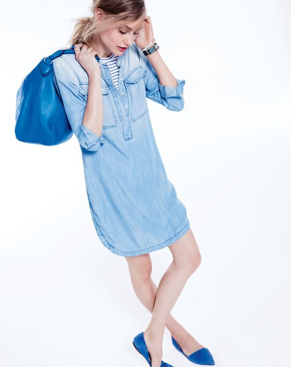 J.Crew women's drapey chambray shirtdress, mixed stone bracelet, Peyton hobo in brocade blue and Sloan suede d'Orsay flats.