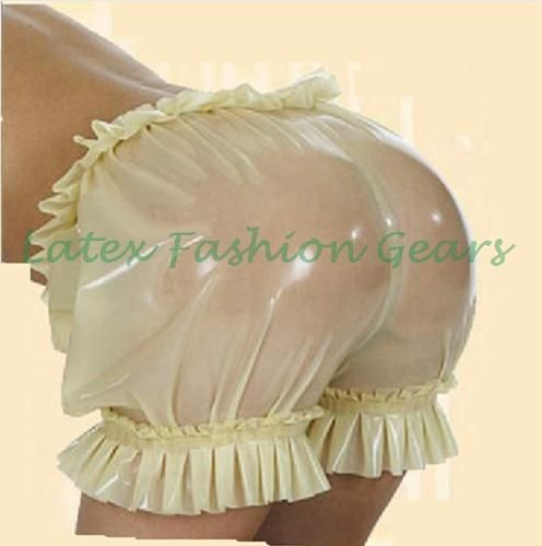 ==> [Free Shipping] Buy Best New arrival latex shorts with ruffle fetish sexy charming bloomer Lady handmade transparent color plus size hot sale Online with LOWEST Price | 32799788843