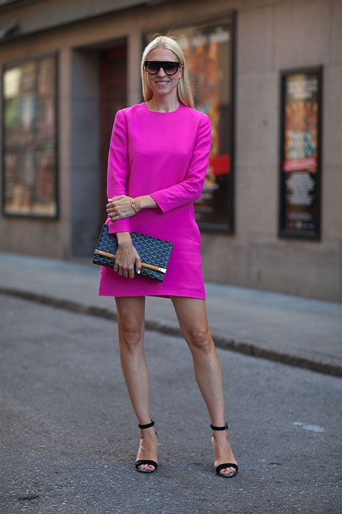 Stockholm Street Style | bright hot pink fuchsia mini dress | long sleeve shift dress | high neckline | simple ankle strap sandals | patterned clutch  http://www.harpersbazaar.com/fashion/fashion-articles/stockholm-fashion-week-street-style-2014#slide-13