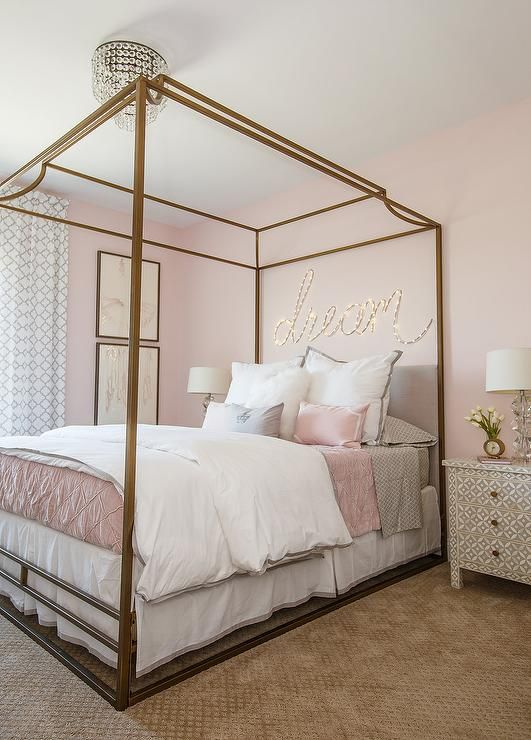 Luxurious pink and gray girl's bedroom