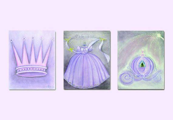 Princess Nursery Royal Crown Cinderella Coach Dress Wall
