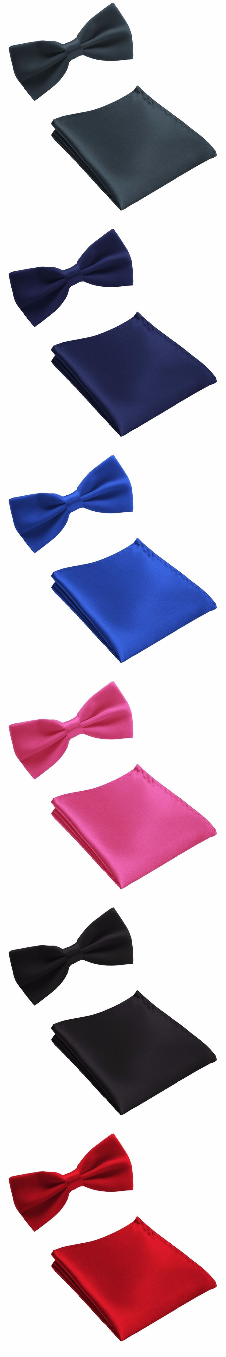 2017 Solid color Tie Set Pocket square Bow Ties for Men Handkerchief Wedding Bowtie