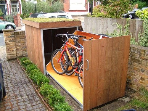 outdoor bike storage shed front yard placement