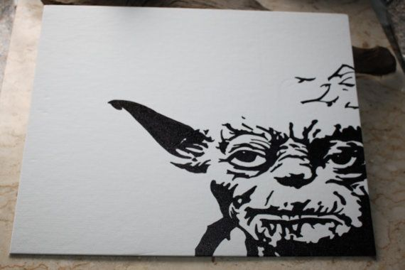 Star Wars Yoda Permanent Marker Drawing On Canvas 11 Quot X 14