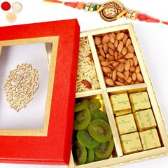 Send online Rakhi Gifts  Hampers Red Satin Almonds, Namkeen, Kiwi and Chocolate Box with Om Rakhi to Malaysia on affordable price at sendrakhi.com