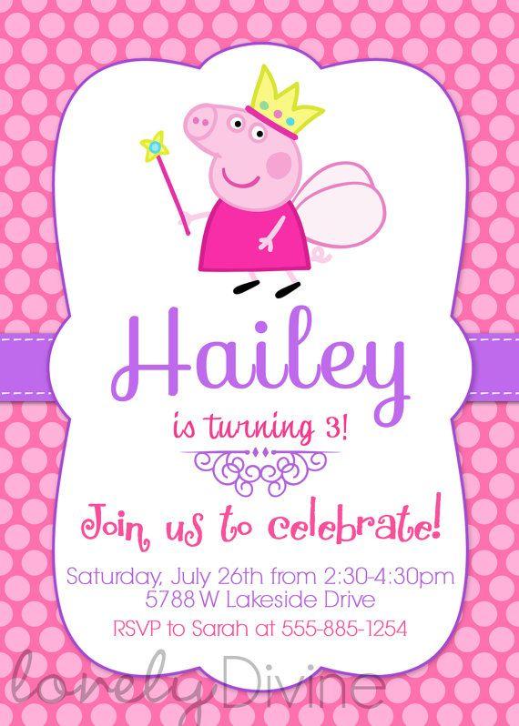 Invitación de Peppa Pig Peppa invitar invitan a por LovelyDivine9